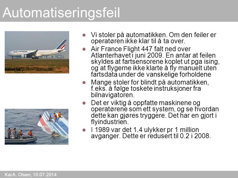 Kai A. Olsen, 10.07.2014 18 Automatiseringsfeil Vi stoler på automatikken.