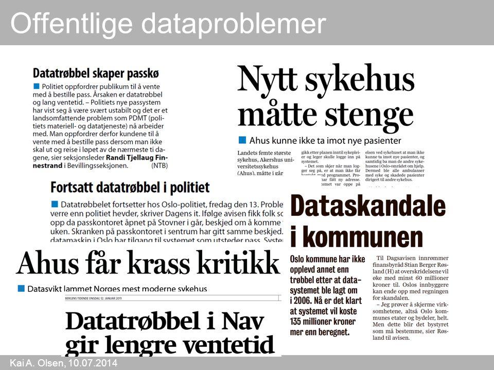 Kai A. Olsen, 10.07.2014 24 Offentlige dataproblemer