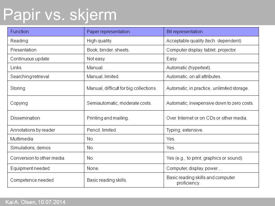 Kai A. Olsen, 10.07.2014 31 Papir vs.