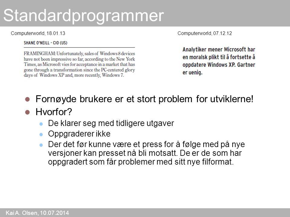 Kai A. Olsen, 10.07.2014 5 Standardprogrammer Fornøyde brukere er et stort problem for utviklerne.