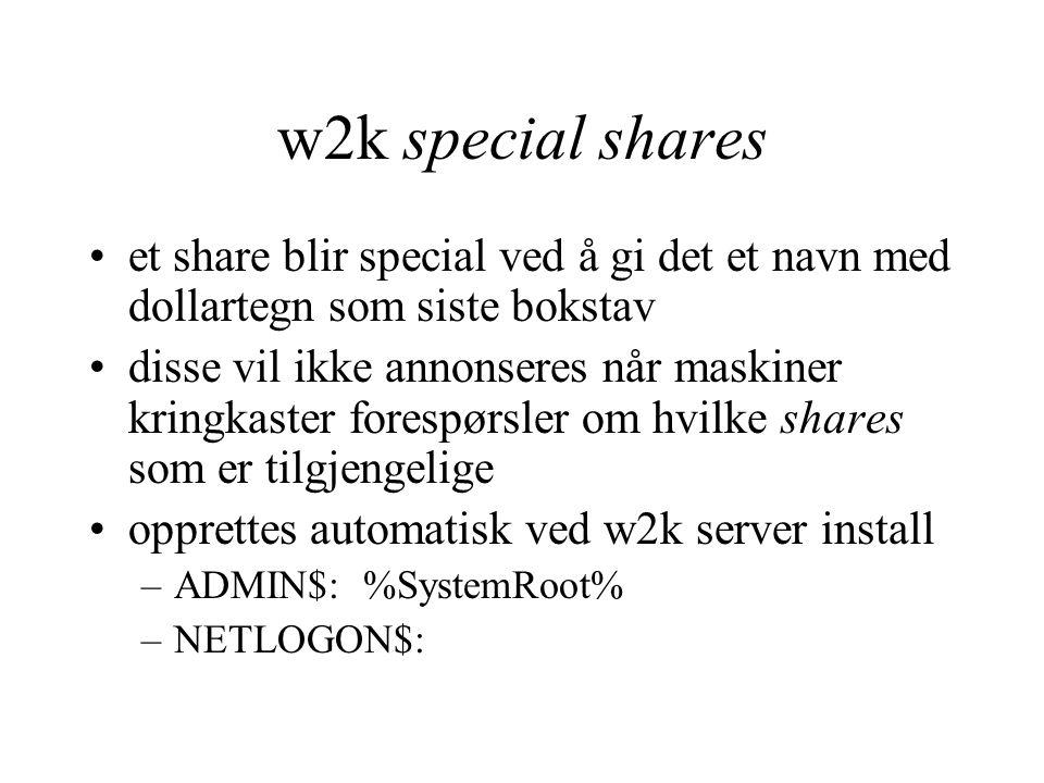 w2k special shares et share blir special ved å gi det et navn med dollartegn som siste bokstav disse vil ikke annonseres når maskiner kringkaster fore