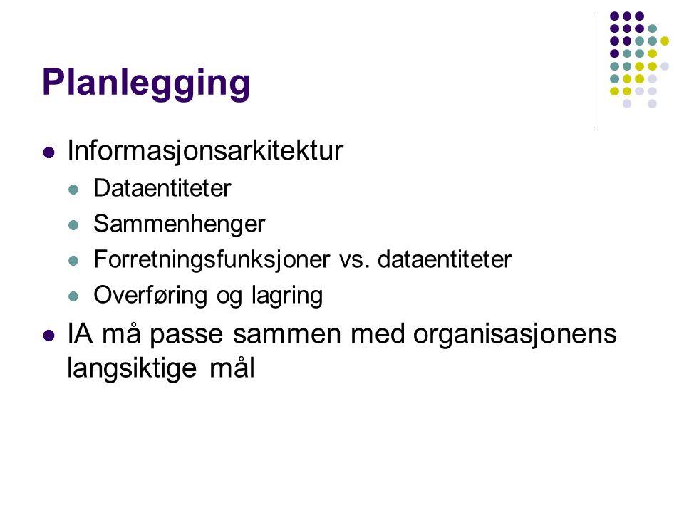Planlegging Informasjonsarkitektur Dataentiteter Sammenhenger Forretningsfunksjoner vs.