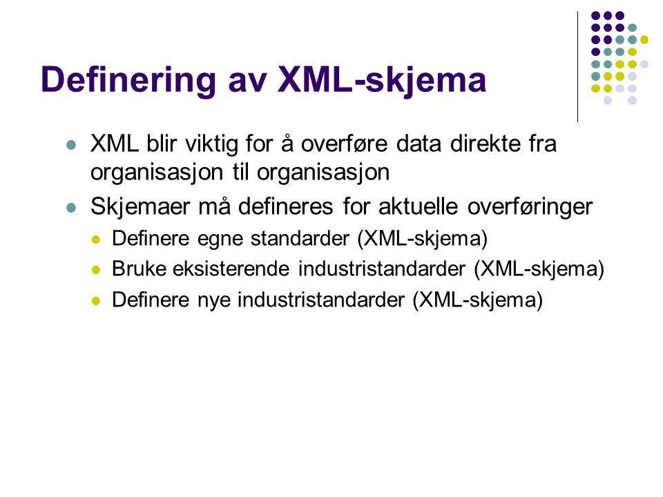 Definering av XML-skjema XML blir viktig for å overføre data direkte fra organisasjon til organisasjon Skjemaer må defineres for aktuelle overføringer Definere egne standarder (XML-skjema) Bruke eksisterende industristandarder (XML-skjema) Definere nye industristandarder (XML-skjema)
