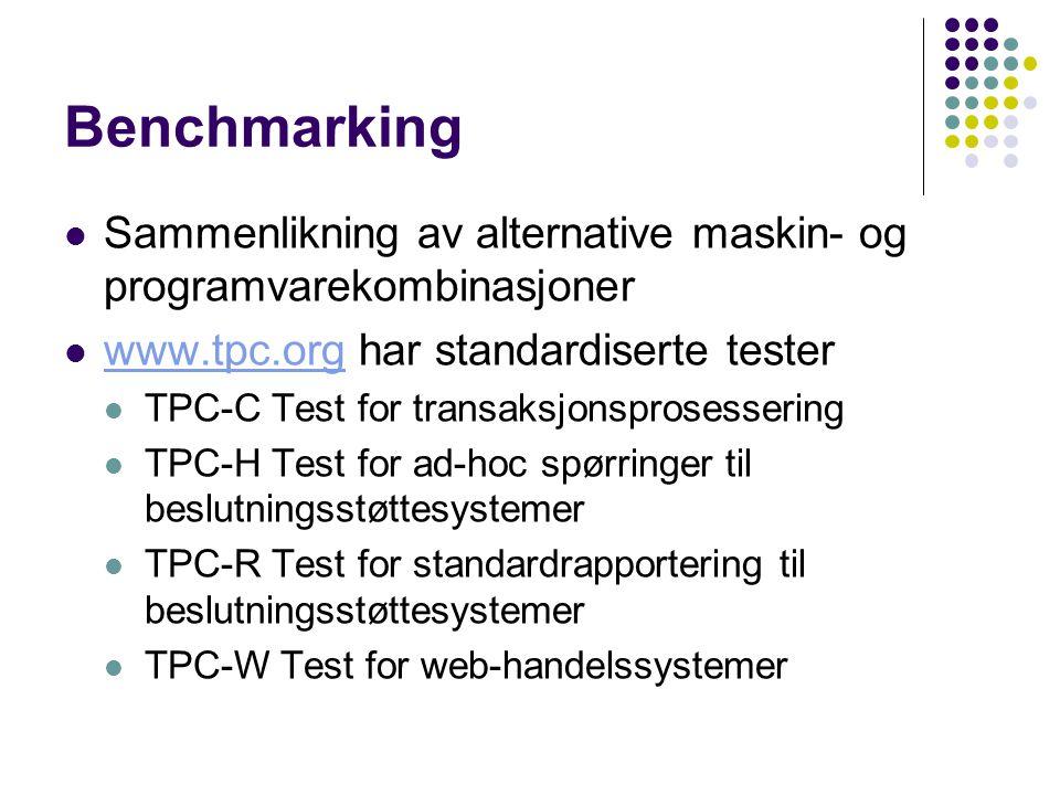 Benchmarking Sammenlikning av alternative maskin- og programvarekombinasjoner www.tpc.org har standardiserte tester www.tpc.org TPC-C Test for transaksjonsprosessering TPC-H Test for ad-hoc spørringer til beslutningsstøttesystemer TPC-R Test for standardrapportering til beslutningsstøttesystemer TPC-W Test for web-handelssystemer