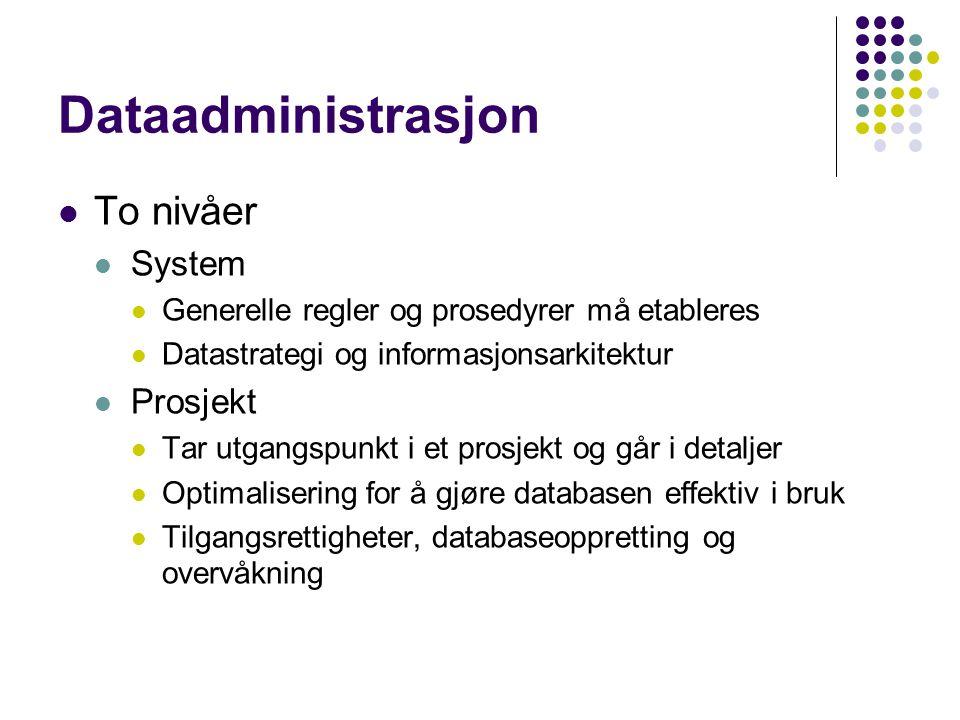 Dataadministrasjon To nivåer System Generelle regler og prosedyrer må etableres Datastrategi og informasjonsarkitektur Prosjekt Tar utgangspunkt i et prosjekt og går i detaljer Optimalisering for å gjøre databasen effektiv i bruk Tilgangsrettigheter, databaseoppretting og overvåkning