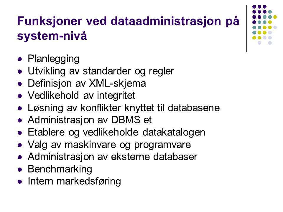 Funksjoner ved dataadministrasjon på system-nivå Planlegging Utvikling av standarder og regler Definisjon av XML-skjema Vedlikehold av integritet Løsning av konflikter knyttet til databasene Administrasjon av DBMS et Etablere og vedlikeholde datakatalogen Valg av maskinvare og programvare Administrasjon av eksterne databaser Benchmarking Intern markedsføring