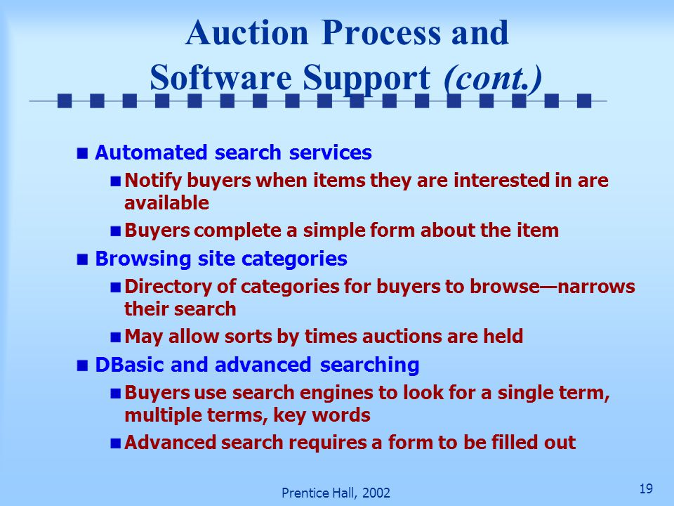 18 Prentice Hall, 2002 Auction Process and Software Support Phase 1: Searching and comparing auctions and their prices Mega-searching and comparisons
