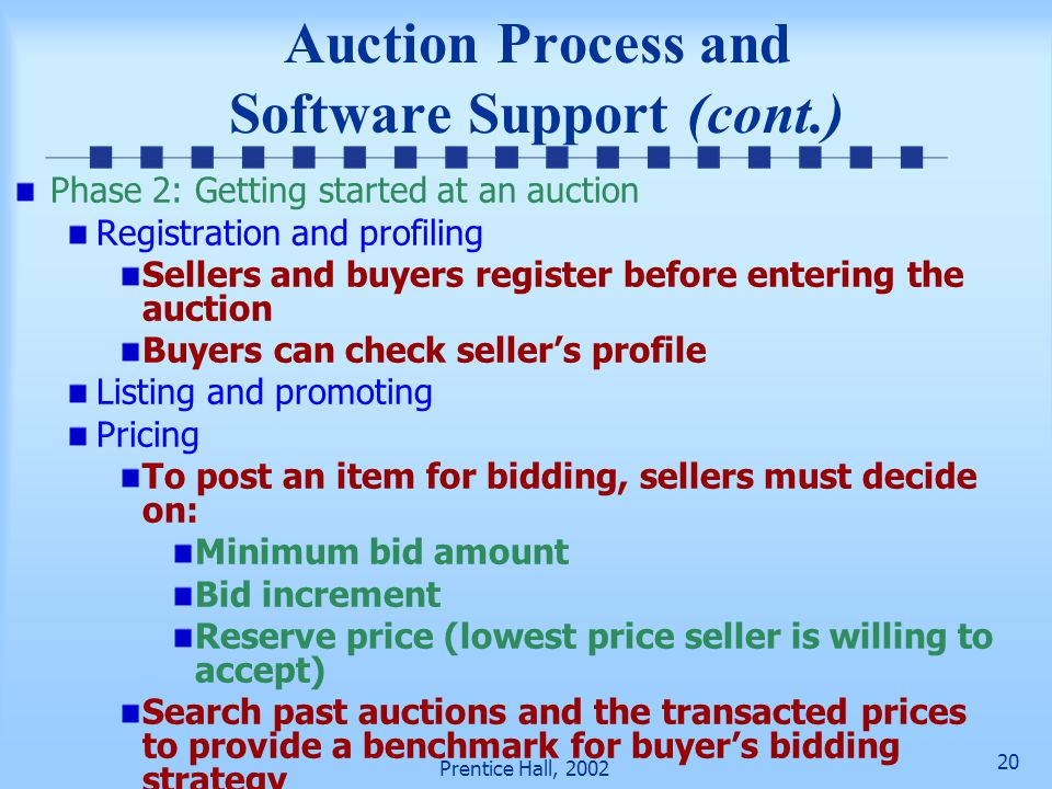 19 Prentice Hall, 2002 Auction Process and Software Support (cont.) Automated search services Notify buyers when items they are interested in are avai