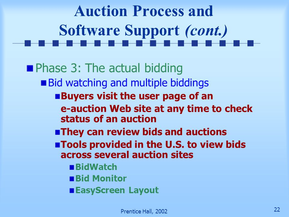 21 Prentice Hall, 2002 Auction Process and Software Support (cont.) Advertising wizard— helps users create attractive ads and auction postings Auction