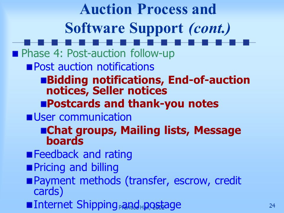 23 Prentice Hall, 2002 Auction Process and Software Support (cont.) Auto-snipping–the act of entering a bid during the very last seconds of an auction