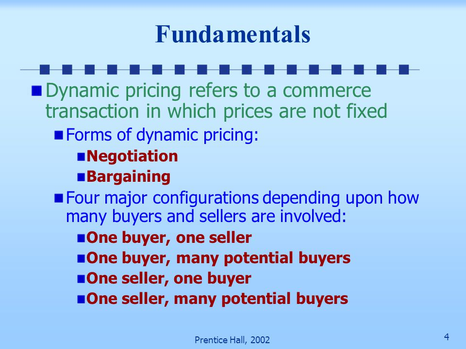 3 Prentice Hall, 2002 Fundamentals of Dynamic Pricing and Auctions Fundamentals Traditional auctions Last only a few minutes (short decision making ti