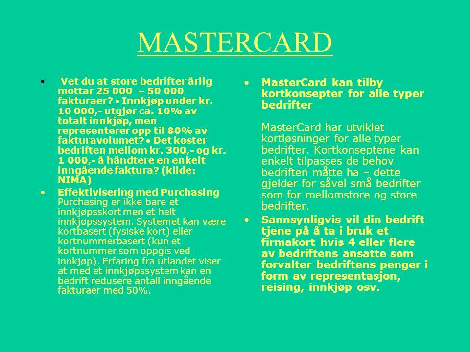 Faktura Kunden bestemmer hvilke kort som skal faktureres samlet samt format og forsendelsesmåte for elektronisk faktura. Samlefakturaen kan også sende