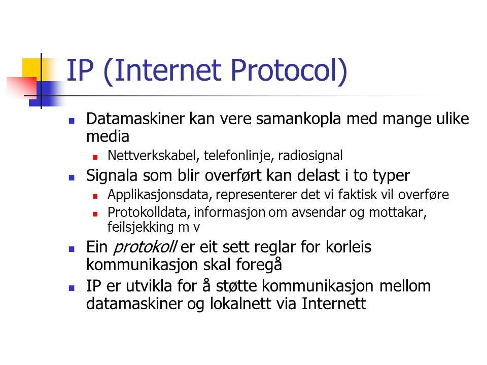 IP (Internet Protocol) IP-adresser er talsekvensar på 4 bytes med punktum mellom 130.65.86.66 Mangel på adresser gjer at dette skal utvidast til 16 bytes DNS (Domain Naming Service) for å oversette mellom navn og adresser, sidan navn er enklare i bruk for oss Data blir delt opp i pakker, kvar pakke blir sendt for seg sjølv I ei sending som består av fleire pakker kan pakkane bli sendt via ulike ruter og komme fram i ei anna rekkefølge Mottakaren må ordne pakkane i rett rekkefølgje for å få innholdet korrekt