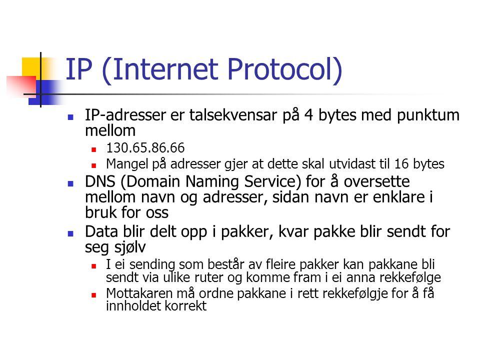 IP (Internet Protocol) IP har berre denne eine funksjonen – å prøve å levere data frå ei datamaskin til ei anna over Internett I tilfelle data blir tapt eller øydelagt under sending, vil IP sikre at mottakar blir gjort oppmerksom på dette På denne måten unngår ein at mottakar stolar på ufullstendige eller feil data IP har ingen mekanismer for å sende data på nytt i tilfelle feil Til dette bruker vi TCP (Transmission Control Protocol)