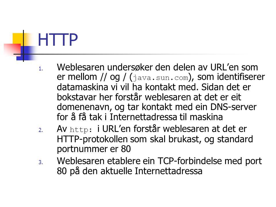 HTTP 1. Weblesaren undersøker den delen av URL'en som er mellom // og / ( java.sun.com ), som identifiserer datamaskina vi vil ha kontakt med. Sidan d