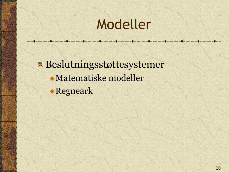 20 Modeller Beslutningsstøttesystemer Matematiske modeller Regneark
