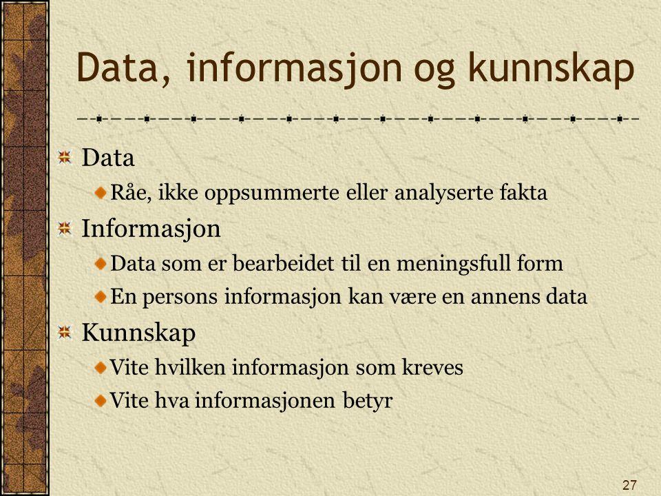 27 Data, informasjon og kunnskap Data Råe, ikke oppsummerte eller analyserte fakta Informasjon Data som er bearbeidet til en meningsfull form En perso