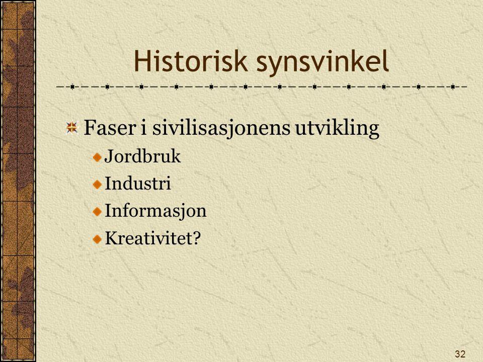 32 Historisk synsvinkel Faser i sivilisasjonens utvikling Jordbruk Industri Informasjon Kreativitet?