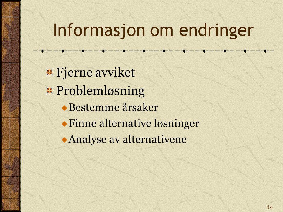 44 Informasjon om endringer Fjerne avviket Problemløsning Bestemme årsaker Finne alternative løsninger Analyse av alternativene