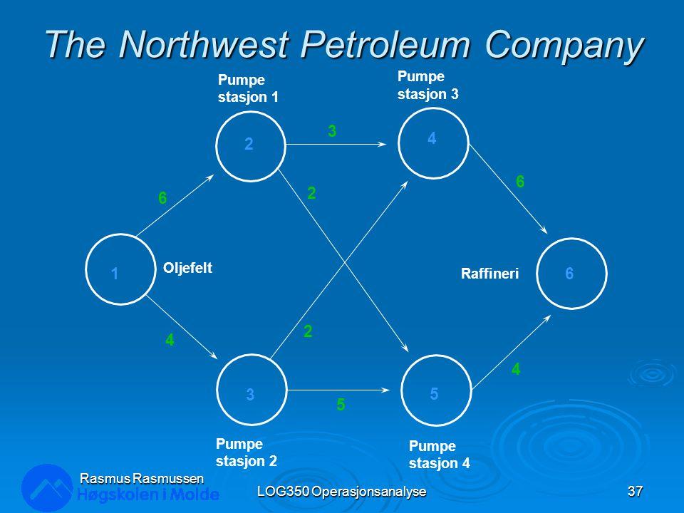 The Northwest Petroleum Company LOG350 Operasjonsanalyse37 Rasmus Rasmussen Oljefelt Pumpe stasjon 1 Pumpe stasjon 2 Pumpe stasjon 3 Pumpe stasjon 4 Raffineri 1 2 3 4 5 6 6 4 3 6 4 5 2 2