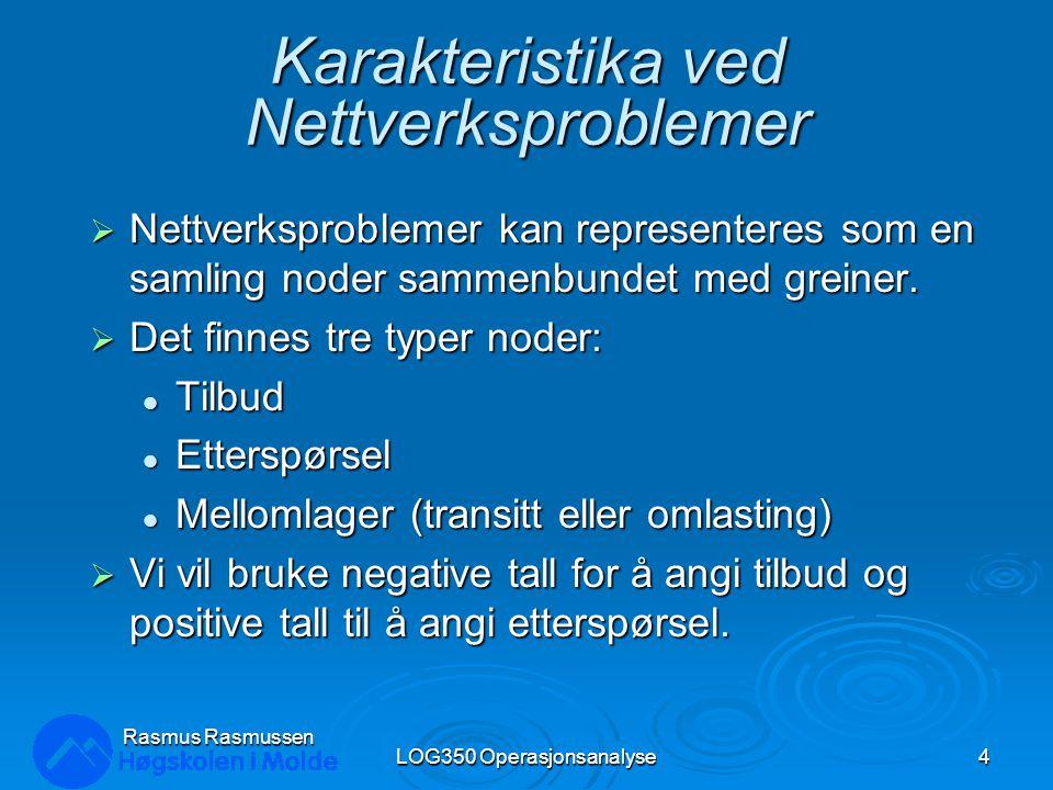 Løsning av eksempelproblemet - 5 LOG350 Operasjonsanalyse55 Rasmus Rasmussen 2 3 1 4 5 6 $80 $85 $75 $50 $65 $40 $150