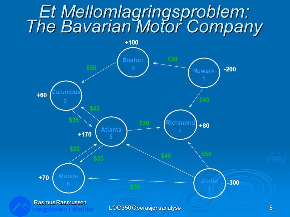 Definere beslutningsvariablene For hver grein i en nettverksmodell defineres en beslutningsvariabel lik: X ij = mengde sendt (eller strøm ) fra node i til node j LOG350 Operasjonsanalyse6 Rasmus Rasmussen For eksempel, X 12 = antall biler sendt fra node 1 (Newark) til node 2 (Boston) X 56 = antall biler sendt fra node 5 (Atlanta) til node 6 (Mobile) Merk: Antall greiner bestemmer antall variabler i et nettverksproblem!