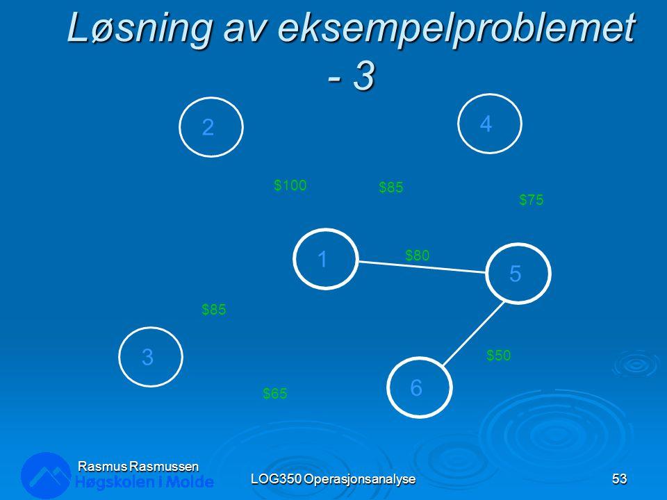 Løsning av eksempelproblemet - 3 LOG350 Operasjonsanalyse53 Rasmus Rasmussen 2 3 1 4 5 6 $100 $85 $80 $85 $75 $50 $65