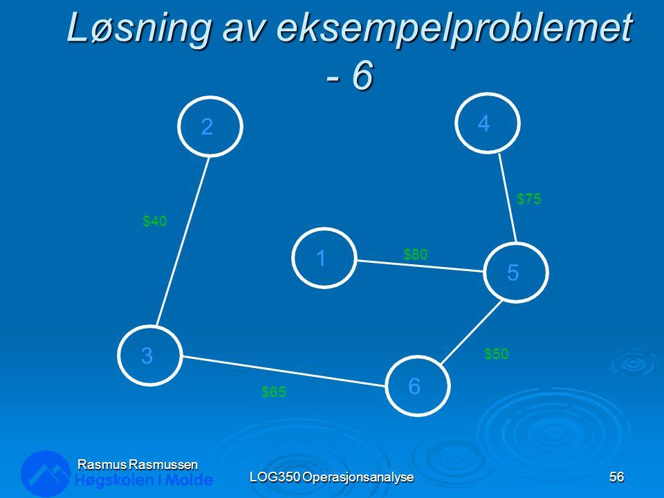 Løsning av eksempelproblemet - 6 LOG350 Operasjonsanalyse56 Rasmus Rasmussen 2 3 1 4 5 6 $80 $75 $50 $65 $40