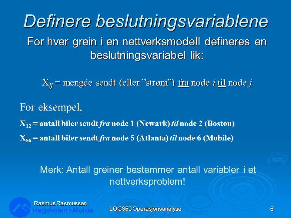 Definere målfunksjonen  Minimer totale transportkostnader:  MIN: 30X 12 + 40X 14 + 50X 23 + 35X 35 + 40X 53 + 30X 54 + 35X 56 + 25X 65 + 40X 53 + 30X 54 + 35X 56 + 25X 65 + 50X 74 + 45X 75 + 50X 76 LOG350 Operasjonsanalyse7 Rasmus Rasmussen