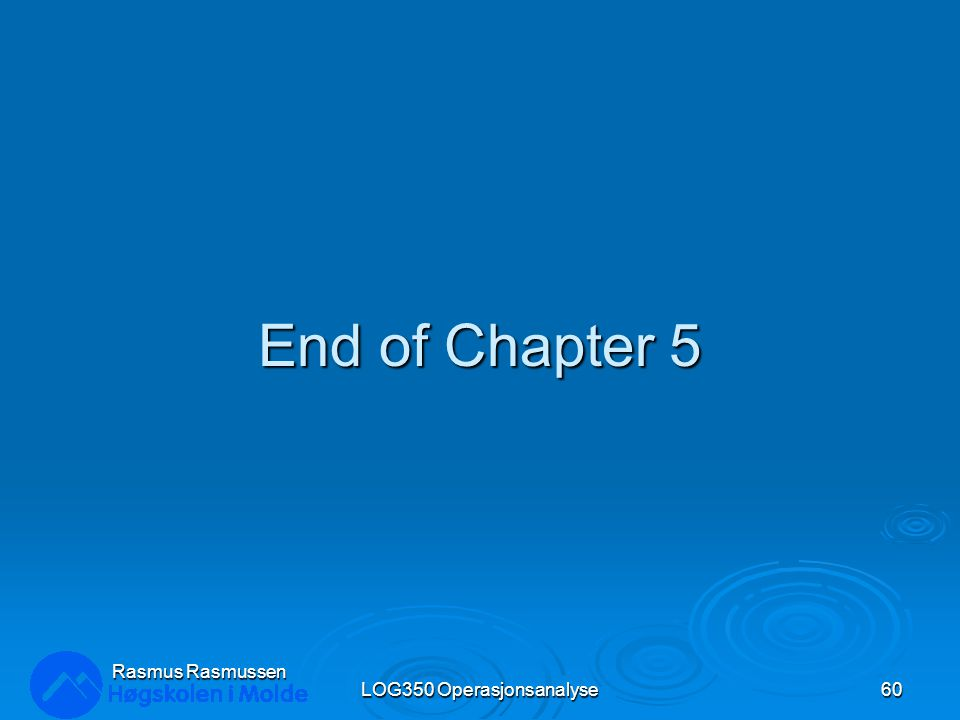 End of Chapter 5 LOG350 Operasjonsanalyse60 Rasmus Rasmussen
