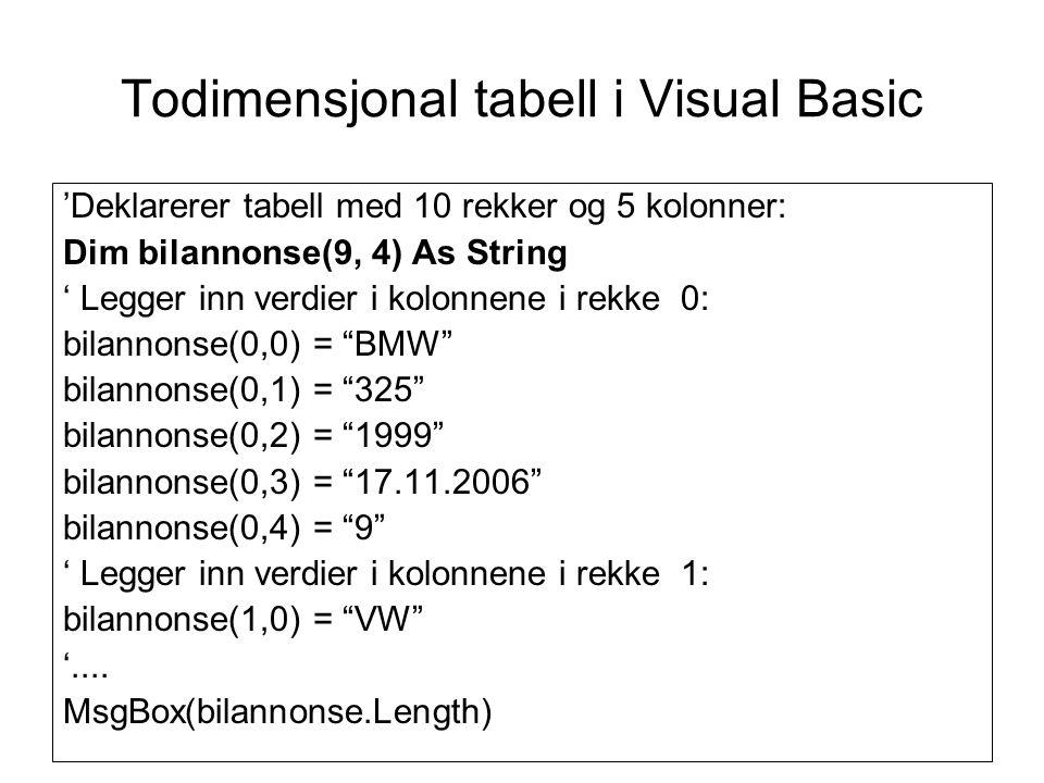 Todimensjonal tabell i Visual Basic 'Deklarerer tabell med 10 rekker og 5 kolonner: Dim bilannonse(9, 4) As String ' Legger inn verdier i kolonnene i rekke 0: bilannonse(0,0) = BMW bilannonse(0,1) = 325 bilannonse(0,2) = 1999 bilannonse(0,3) = 17.11.2006 bilannonse(0,4) = 9 ' Legger inn verdier i kolonnene i rekke 1: bilannonse(1,0) = VW '....
