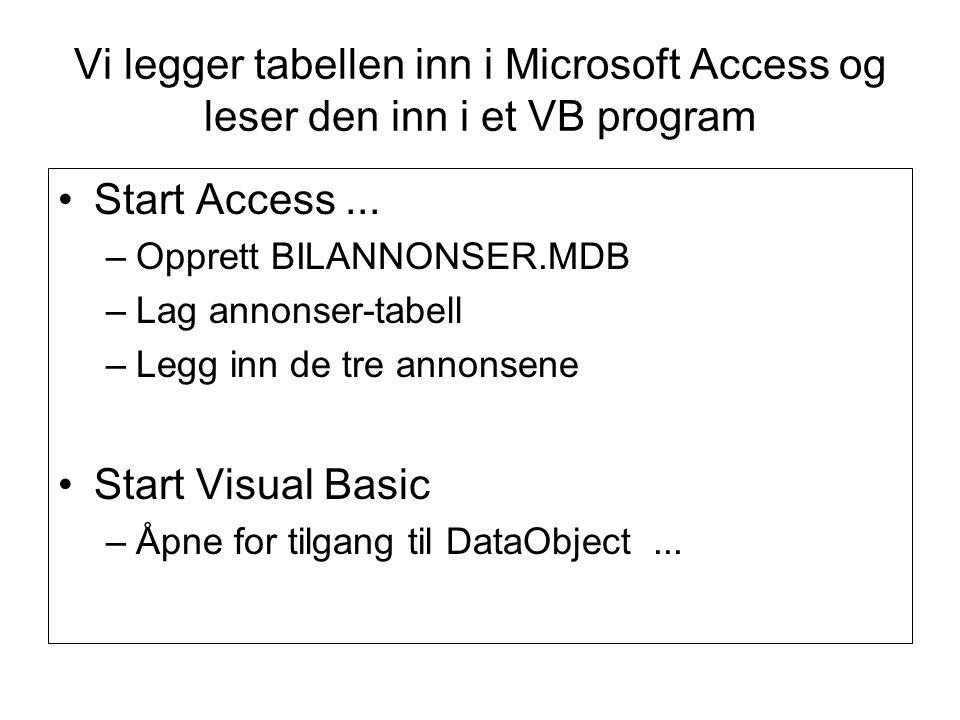 Vi legger tabellen inn i Microsoft Access og leser den inn i et VB program Start Access...