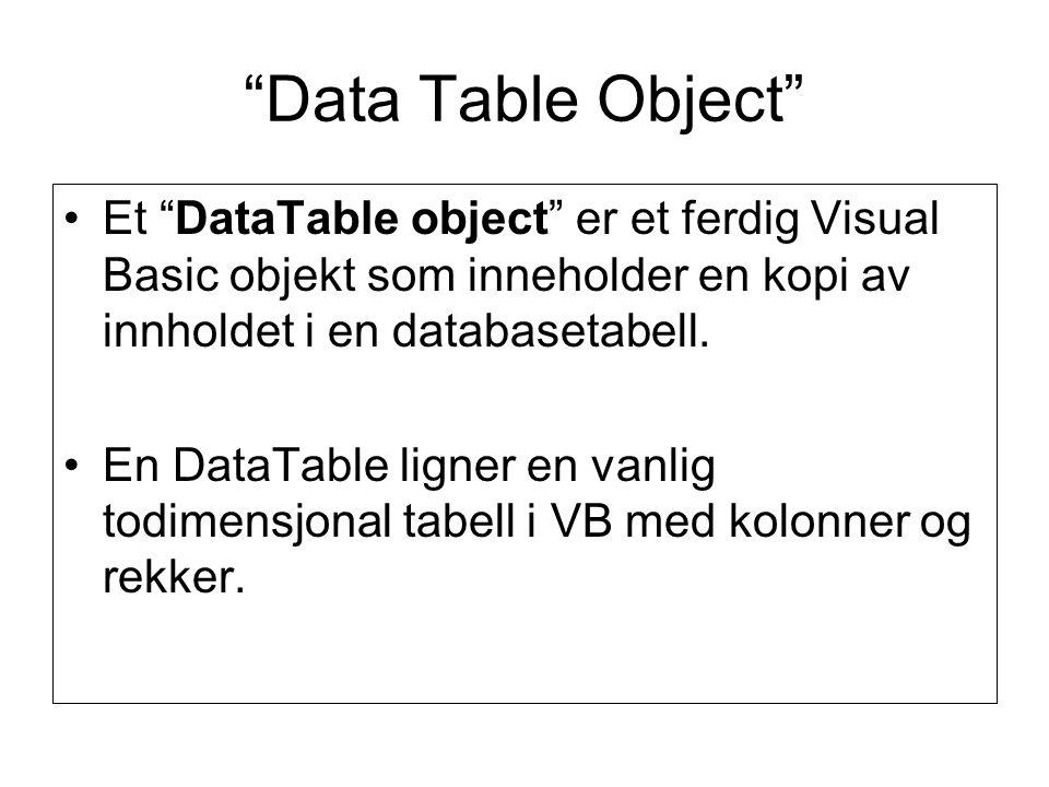 Data Table Object Et DataTable object er et ferdig Visual Basic objekt som inneholder en kopi av innholdet i en databasetabell.