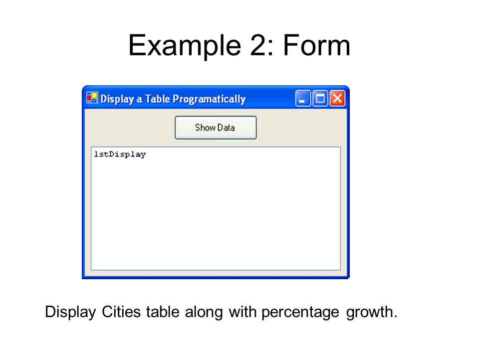 Example 2: Form Display Cities table along with percentage growth.