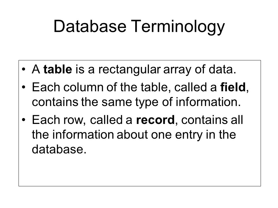 Database Terminology A table is a rectangular array of data.