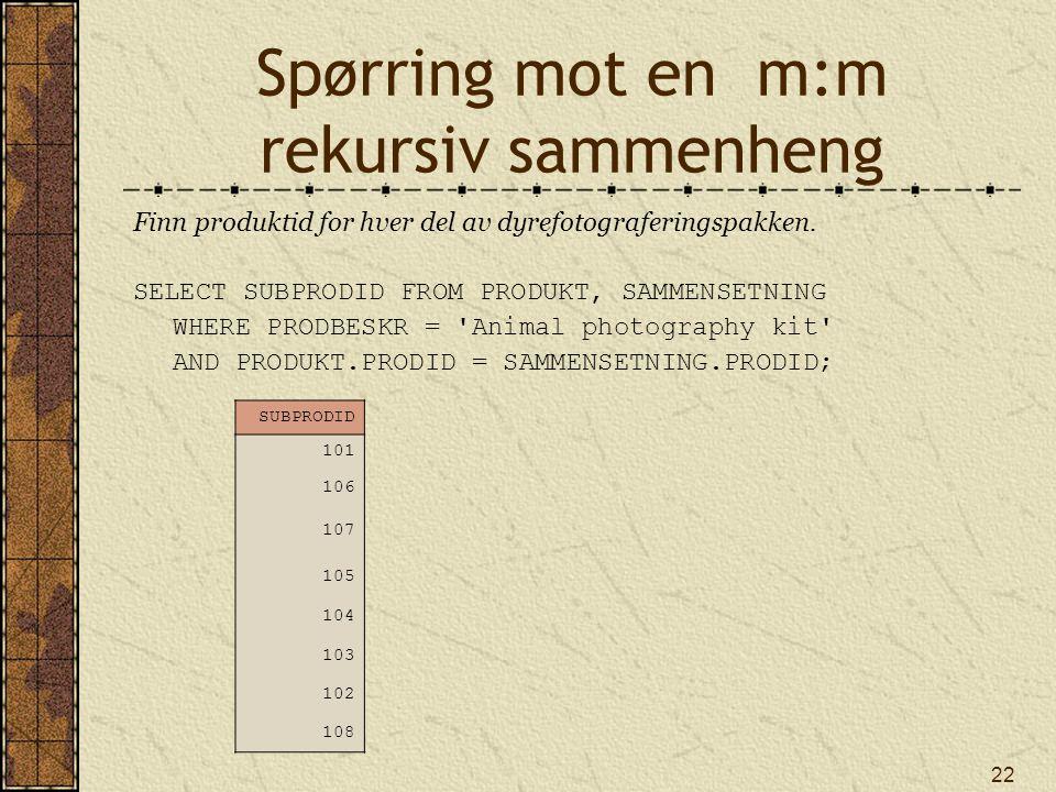 22 Spørring mot en m:m rekursiv sammenheng Finn produktid for hver del av dyrefotograferingspakken.