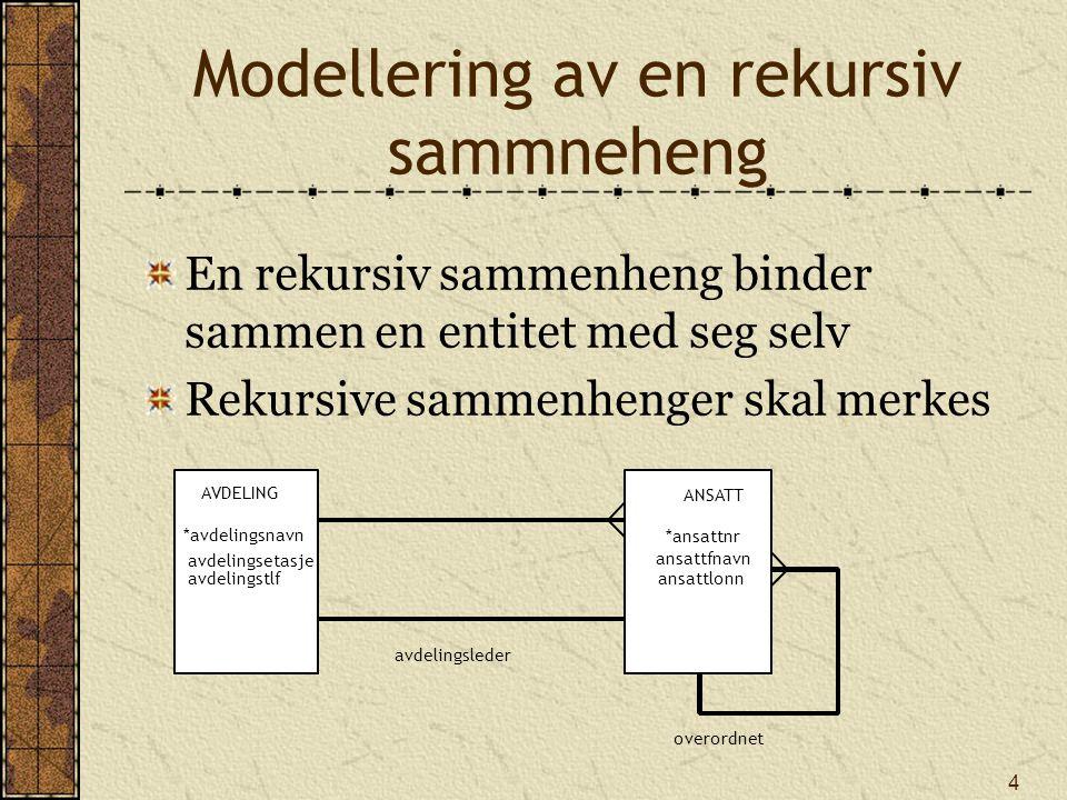 4 Modellering av en rekursiv sammneheng En rekursiv sammenheng binder sammen en entitet med seg selv Rekursive sammenhenger skal merkes AVDELING *avdelingsnavn avdelingsetasje avdelingstlf avdelingsleder overordnet ANSATT *ansattnr ansattfnavn ansattlonn