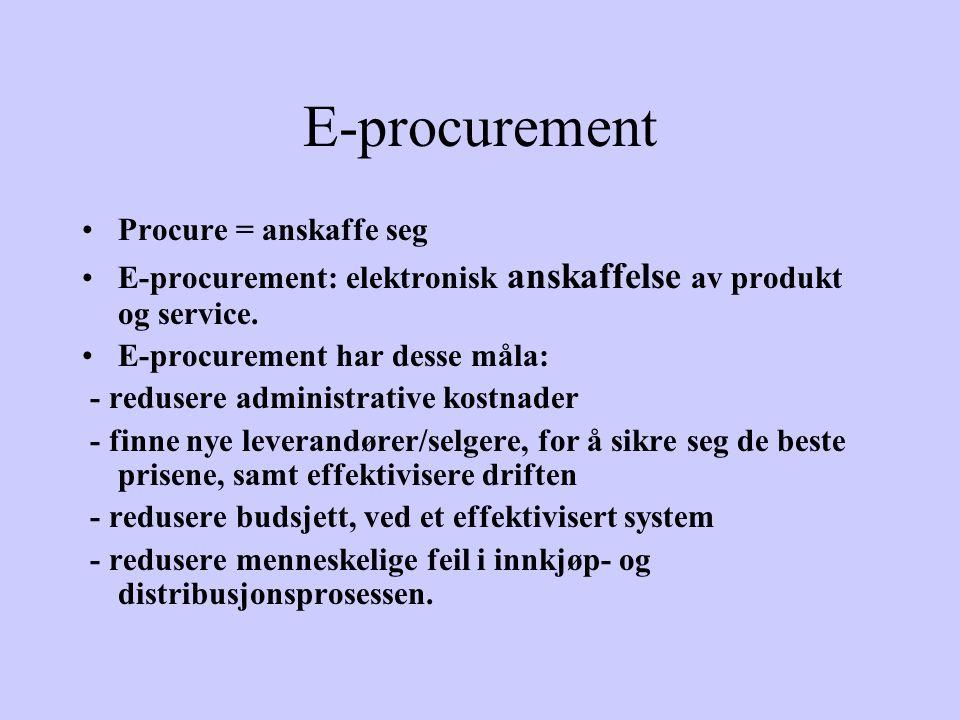 E-procurement Procure = anskaffe seg E-procurement: elektronisk anskaffelse av produkt og service.