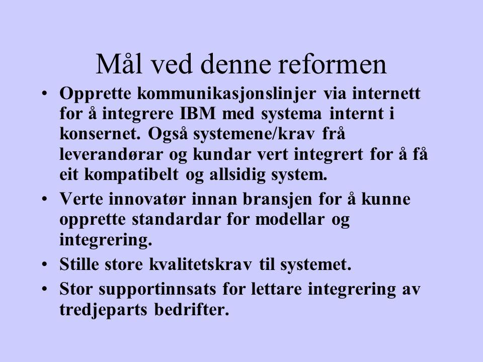 Mål ved denne reformen Opprette kommunikasjonslinjer via internett for å integrere IBM med systema internt i konsernet.