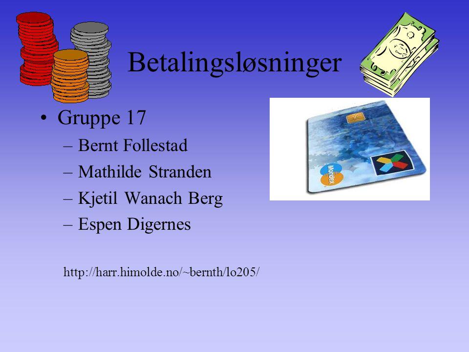 Betalingsløsninger Gruppe 17 –Bernt Follestad –Mathilde Stranden –Kjetil Wanach Berg –Espen Digernes http://harr.himolde.no/~bernth/lo205/