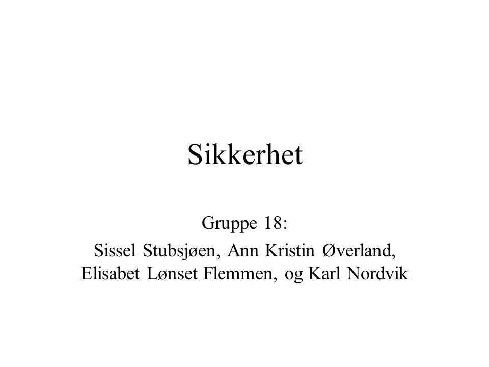 Sikkerhet Gruppe 18: Sissel Stubsjøen, Ann Kristin Øverland, Elisabet Lønset Flemmen, og Karl Nordvik