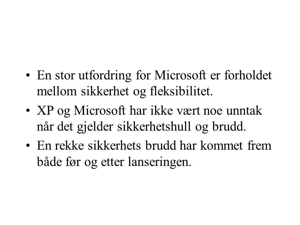 En stor utfordring for Microsoft er forholdet mellom sikkerhet og fleksibilitet.