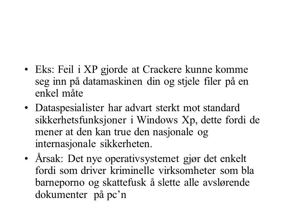 Eks: Feil i XP gjorde at Crackere kunne komme seg inn på datamaskinen din og stjele filer på en enkel måte Dataspesialister har advart sterkt mot standard sikkerhetsfunksjoner i Windows Xp, dette fordi de mener at den kan true den nasjonale og internasjonale sikkerheten.