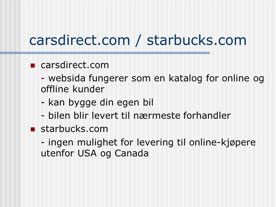 carsdirect.com / starbucks.com carsdirect.com - websida fungerer som en katalog for online og offline kunder - kan bygge din egen bil - bilen blir levert til nærmeste forhandler starbucks.com - ingen mulighet for levering til online-kjøpere utenfor USA og Canada