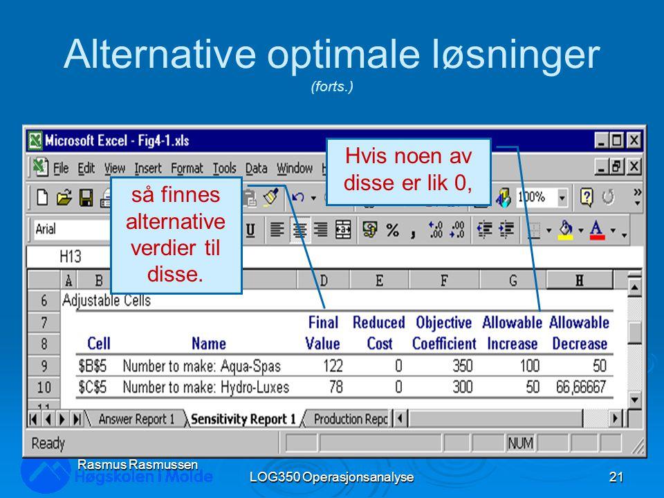 LOG350 Operasjonsanalyse21 Rasmus Rasmussen Alternative optimale løsninger (forts.) Hvis noen av disse er lik 0, så finnes alternative verdier til disse.