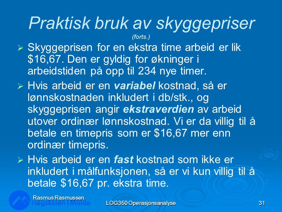 LOG350 Operasjonsanalyse31 Rasmus Rasmussen Praktisk bruk av skyggepriser (forts.)  Skyggeprisen for en ekstra time arbeid er lik $16,67.