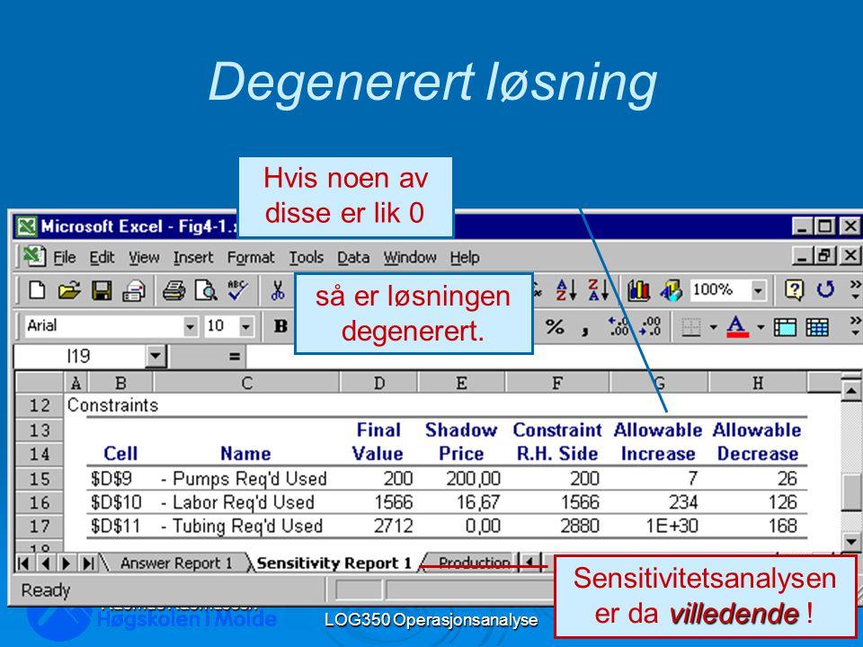 LOG350 Operasjonsanalyse42 Rasmus Rasmussen Degenerert løsning Hvis noen av disse er lik 0 så er løsningen degenerert.