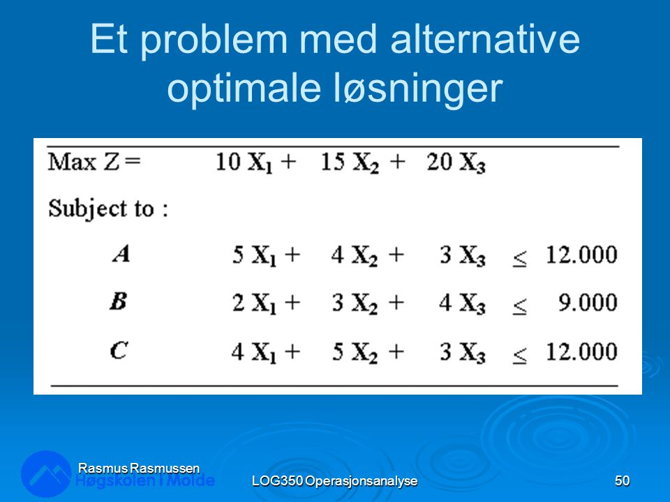 LOG350 Operasjonsanalyse50 Rasmus Rasmussen Et problem med alternative optimale løsninger