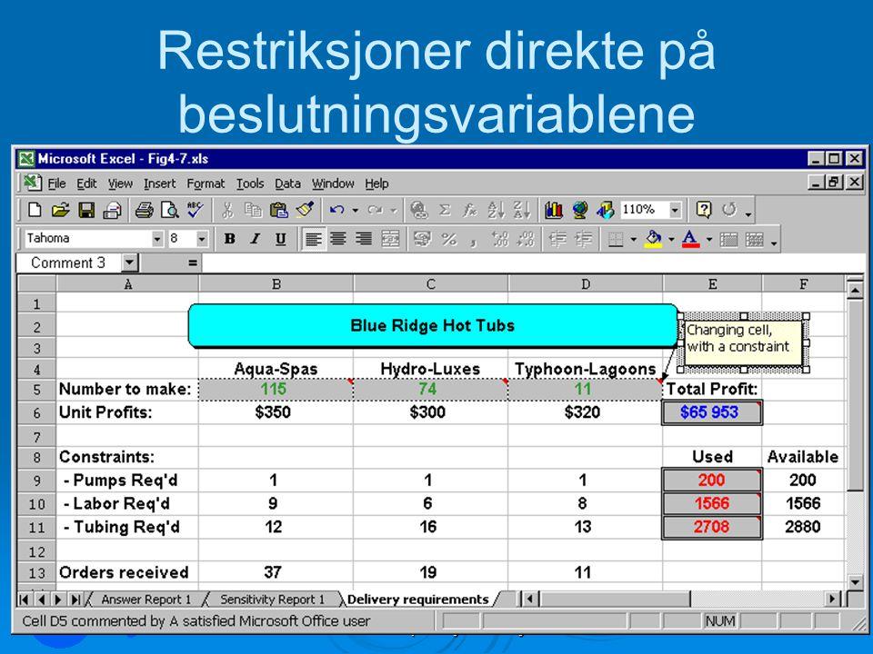 LOG350 Operasjonsanalyse55 Rasmus Rasmussen Restriksjoner direkte på beslutningsvariablene
