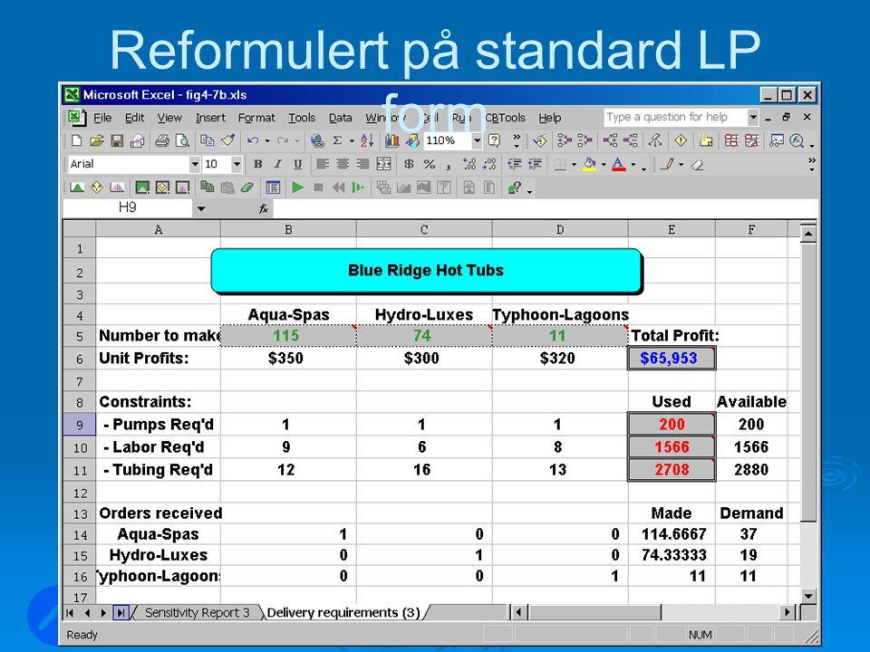 LOG350 Operasjonsanalyse60 Rasmus Rasmussen Reformulert på standard LP form